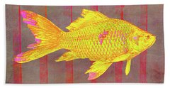 Beach Towel featuring the digital art Gold Fish On Striped Background by Mimulux patricia No