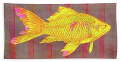 Gold Fish On Striped Background Beach Sheet