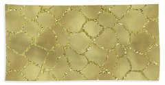 Gold Glam Giraffe Print Beach Towel