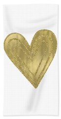 Gold Glam Heart Beach Towel