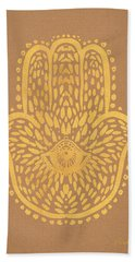 Gold Hamsa Hand On Brown Paper Beach Towel