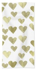 Gold Hearts Beach Towel