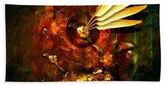 Beach Towel featuring the painting  Gold Inkpot by Alexa Szlavics
