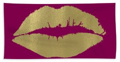 Gold Lips Kiss Beach Towel