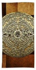 Gold Mayan-aztec Calendar On Brown Leather Beach Towel