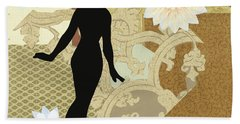 Gold Paper Doll Beach Towel