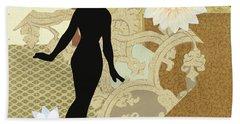 Gold Paper Doll Beach Sheet