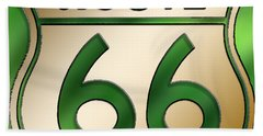 Beach Towel featuring the digital art Gold Route 66 Sign by Chuck Staley