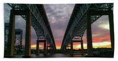 Beach Towel featuring the photograph Gold Star Bridge Sunset 2016 by Kirkodd Photography Of New England