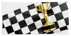Gold Trophy On A Checked Sport Flag Beach Towel