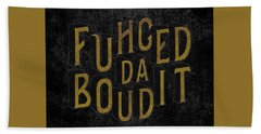 Beach Towel featuring the digital art Goldblack Fuhgeddaboudit by Megan Dirsa-DuBois