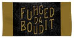 Beach Sheet featuring the digital art Goldblack Fuhgeddaboudit by Megan Dirsa-DuBois