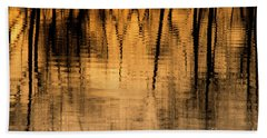Golden Abstract Beach Sheet by Shevin Childers