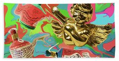 Golden Angel With Party Poppers Beach Towel