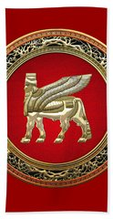 Golden Babylonian Winged Bull  Beach Towel
