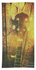 Golden Banjo Neck In Retro Folk Style Beach Towel