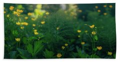 Golden Blooms Beach Towel