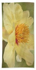 Golden Bowl Tree Peony Bloom - Profile Beach Towel by Patti Deters
