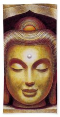Beach Towel featuring the painting Golden Buddha by Sue Halstenberg