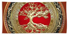 Golden Celtic Tree Of Life  Beach Towel by Serge Averbukh