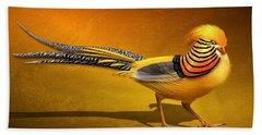 Golden Chinese Pheasant Beach Towel