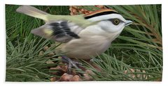 Golden Crowned Kinglet Beach Towel by Walter Colvin