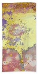 Golden Dreams Abstract Gold Dandelion Beach Towel