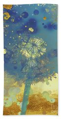 Golden Dreams II Abstract Marine Blue And Gold Dandelion Puff Beach Towel