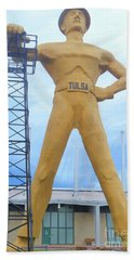 Beach Towel featuring the photograph Golden Driller Tulsa Oklahoma by Janette Boyd