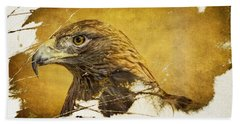 Golden Eagle Grunge Portrait Beach Towel