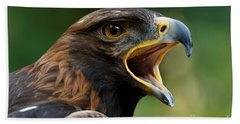 Beach Towel featuring the photograph Golden Eagle - Raptor Calling by Sue Harper