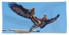 Golden Eagle Courtship Beach Towel