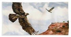 Golden Eagles In Fligh Beach Sheet by Sam Sidders