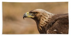 Golden Eagle's Portrait Beach Towel by Torbjorn Swenelius
