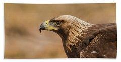 Golden Eagle's Portrait Beach Sheet by Torbjorn Swenelius