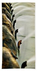 Golden Elephant Fountain Beach Towel