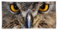 Golden Eyes - Great Horned Owl Beach Towel