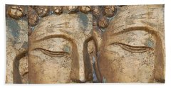Golden Faces Of Buddha Beach Towel by Linda Prewer