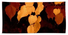 Golden Fall Leaves Beach Towel