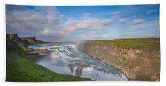 Golden Falls, Gullfoss Iceland Beach Towel