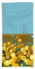 Golden  Flowers Beach Sheet by Val Arie
