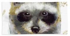 Golden Forest Raccoon  Beach Towel