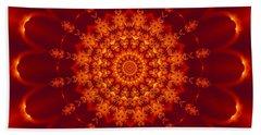 Golden Fractal Mandala Daisy Beach Towel