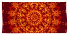 Golden Fractal Mandala Daisy Beach Towel
