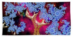 Golden Fractal Tree Beach Towel