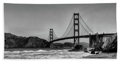 Golden Gate Bridge Black And White Beach Sheet