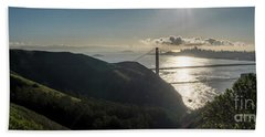 Golden Gate Bridge From The Road Up The Mountain Beach Towel