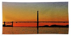 Beach Towel featuring the digital art Golden Gate Bridge Panoramic by PixBreak Art