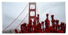 Golden Gate Bridge Red Flowers Beach Towel by Matt Harang