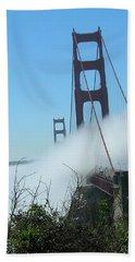 Golden Gate Bridge Towers In The Fog Beach Sheet